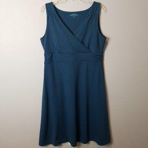 Eddie Bauer blue faux wrap maxi dress Large